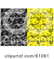 Royalty Free RF Clipart Illustration Of A Digital Collage Of Black And White And Yellow And Black Floral Patterned Backgrounds