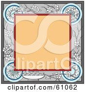 Royalty Free RF Clipart Illustration Of A Blank Tan Square Bordered In Floral Blossoms And Designs by pauloribau