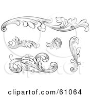 Royalty Free RF Clipart Illustration Of A Digital Collage Of Black And White Leafy Floral Scrolls And Design Elements Version 2
