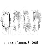 Royalty Free RF Clipart Illustration Of A Digital Collage Of Four Floral Text Boxes Trimmed In Black And White Flowers by pauloribau