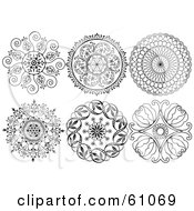 Royalty Free RF Clipart Illustration Of A Digital Collage Of Black And White Ornamental Design Elements Version 2