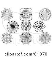 Royalty Free RF Clipart Illustration Of A Digital Collage Of Black And White Ornamental Design Elements Version 1