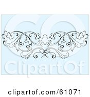 Royalty Free RF Clipart Illustration Of A Floral Scroll Background Of Black Vines On Blue by pauloribau