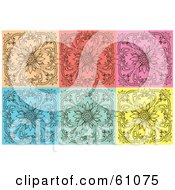 Royalty Free RF Clipart Illustration Of A Digital Collage Of Six Elegant Floral Backgrounds In Beige Red Pink Blue Green And Yellow by pauloribau