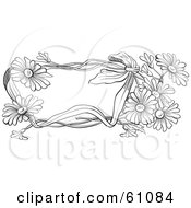 Royalty Free RF Clipart Illustration Of A Black And White Daisy Flower Text Box by pauloribau