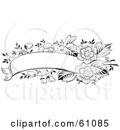 Royalty Free RF Clipart Illustration Of A Blank Black And White Flower Text Box Banner by pauloribau