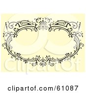 Royalty Free RF Clipart Illustration Of A Black Ornate Oval Frame On A Beige Background by pauloribau