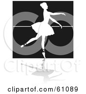Royalty Free RF Clipart Illustration Of A White Dancing Ballerina Silhouette Against A Brown Wall