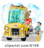 Elementary School Children Waiting For A Bus Driver To Signal For Them To Cross A Street Clipart by djart