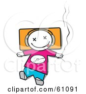 Royalty Free RF Clipart Illustration Of A Little Dj Man Wearing Headphones And Smoking A Joint