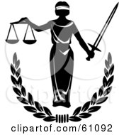 Royalty Free RF Clipart Illustration Of Blind Justice Holing Scales And A Sword Over A Laurel by pauloribau