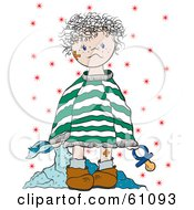 Royalty-free (RF) Clipart Illustration of a Toddler With Bandages, Dragging A Blanket And Carrying A Pacifier by pauloribau
