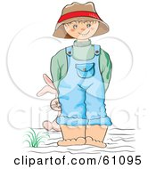Royalty-free (RF) Clipart Illustration of a Little Boy Wearing Overalls And A Hat, Smiling And Holding A Stuffed Bunny Behind His Back by pauloribau