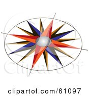 Royalty Free RF Clipart Illustration Of A Colorful Compass Rose With An Ornate Design