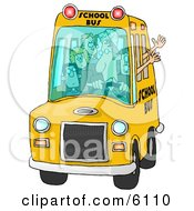 Bus Driver Man Driving A School Bus Full Of Elementary School Students Clipart