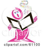 Pink Singer Holding A Book With Flowing Sheet Music