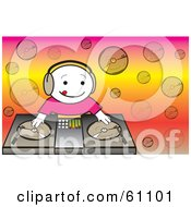 Royalty Free RF Clipart Illustration Of A Happy Dj Mixing Records On A Turntable