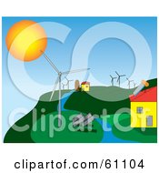 Royalty Free RF Clipart Illustration Of A Solar And Wind Energy Hillside Farm