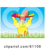 Royalty Free RF Clipart Illustration Of A Yellow Chicken Carrying A Fruit Platter On Top Of His Head