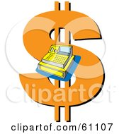 Royalty Free RF Clipart Illustration Of A Cash Register Over A Giant Orange Dollar Symbol