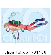 Royalty Free RF Clipart Illustration Of A Male Scuba Diver Swimming In Blue Waters With Rising Bubbles