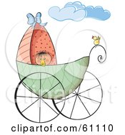Yellow Bird Perched On The Rail Of A Baby Carriage The Baby Peeking Over The Edge