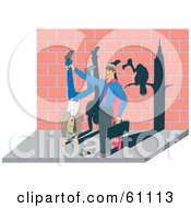 Royalty Free RF Clipart Illustration Of A Super IRS Agent With A Vulture Shadow Holding A Citizen Upside Down To Seize All Of His Money