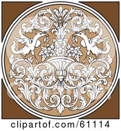 Royalty Free RF Clipart Illustration Of A Round Ornate Design Element With White Floral Patterns And Birds On Brown by pauloribau