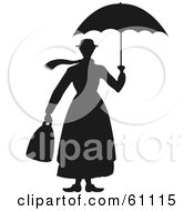 Royalty Free RF Clipart Illustration Of A Black And White Womans Silhouette Carrying A Bag And Umbrella by pauloribau