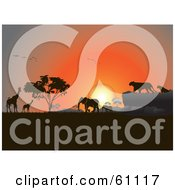 Royalty Free RF Clipart Illustration Of Silhouetted Giraffes Birds Elephants And Big Cats Against An Orange African Sunset