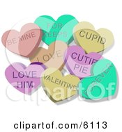 Clipart Illustration Of Valentine Candy Lover Hearts Clipart by Dennis Cox
