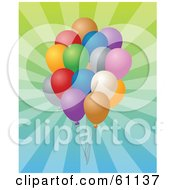 Royalty Free RF Clipart Illustration Of A Cluster Of Birthday Balloons Over A Gradient Bursting Background