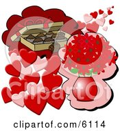 Box Of Chocolate Candies And A Vase Of Red Flowers With Hearts For Valentines Day Gifts Clipart