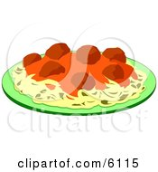 Spaghetti Meatballs And Marinara Italian Food On A Plate Clipart by Dennis Cox