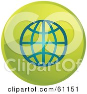 Royalty Free RF Clipart Illustration Of A Round Green Globe Internet Browser Button by Kheng Guan Toh