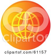 Royalty Free RF Clipart Illustration Of A Round Orange Wire Globe Internet Browser Button by Kheng Guan Toh