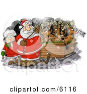 Santa Claus And Mrs Claus Pulling Toys And Reindeer Santas Sleigh Because The Reindeer Are On Strike On Christmas Clipart