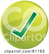Royalty Free RF Clipart Illustration Of A Round Green Check Mark Internet Browser Button by Kheng Guan Toh