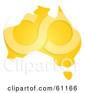 Royalty Free RF Clipart Illustration Of A Yellow Map Of Australia On White