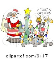 Humorous Clip Art Illustration Of Lost And Confused Santa Claus Holding A Map Beside Rudolph by Dennis Cox