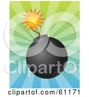 Royalty Free RF Clipart Illustration Of A Lit Black Bomb With A Burning Fuse On A Bursting Gradient Background
