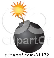Royalty Free RF Clipart Illustration Of A Lit Black Bomb With A Burning Fuse On A White Background
