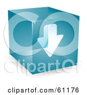Royalty Free RF Clipart Illustration Of A Transparent Blue 3d Download Arrow Cube