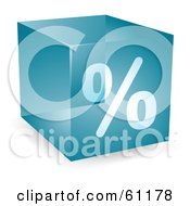 Royalty Free RF Clipart Illustration Of A Transparent Blue 3d Percent Cube by Kheng Guan Toh