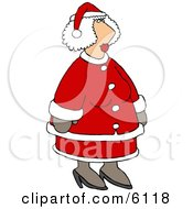Mrs Santa Claus In Her Red And White Suit Clipart by Dennis Cox