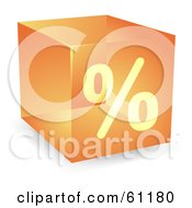 Royalty Free RF Clipart Illustration Of A Transparent Orange 3d Percent Cube by Kheng Guan Toh