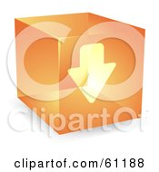 Royalty Free RF Clipart Illustration Of A Transparent Orange 3d Download Arrow Cube