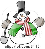 Frosty The Snowman In A Tophat Scarf And Vest Holding A Shovel Clipart