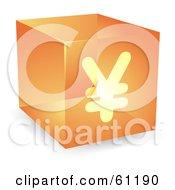 Royalty Free RF Clipart Illustration Of A Transparent Orange 3d Yen Cube