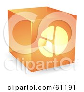 Royalty Free RF Clipart Illustration Of A Transparent Orange 3d Pie Chart Cube